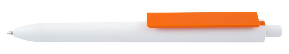Plastikowy długopis reklamowy El Primero Solid White-10 - biało-pomarańczowy